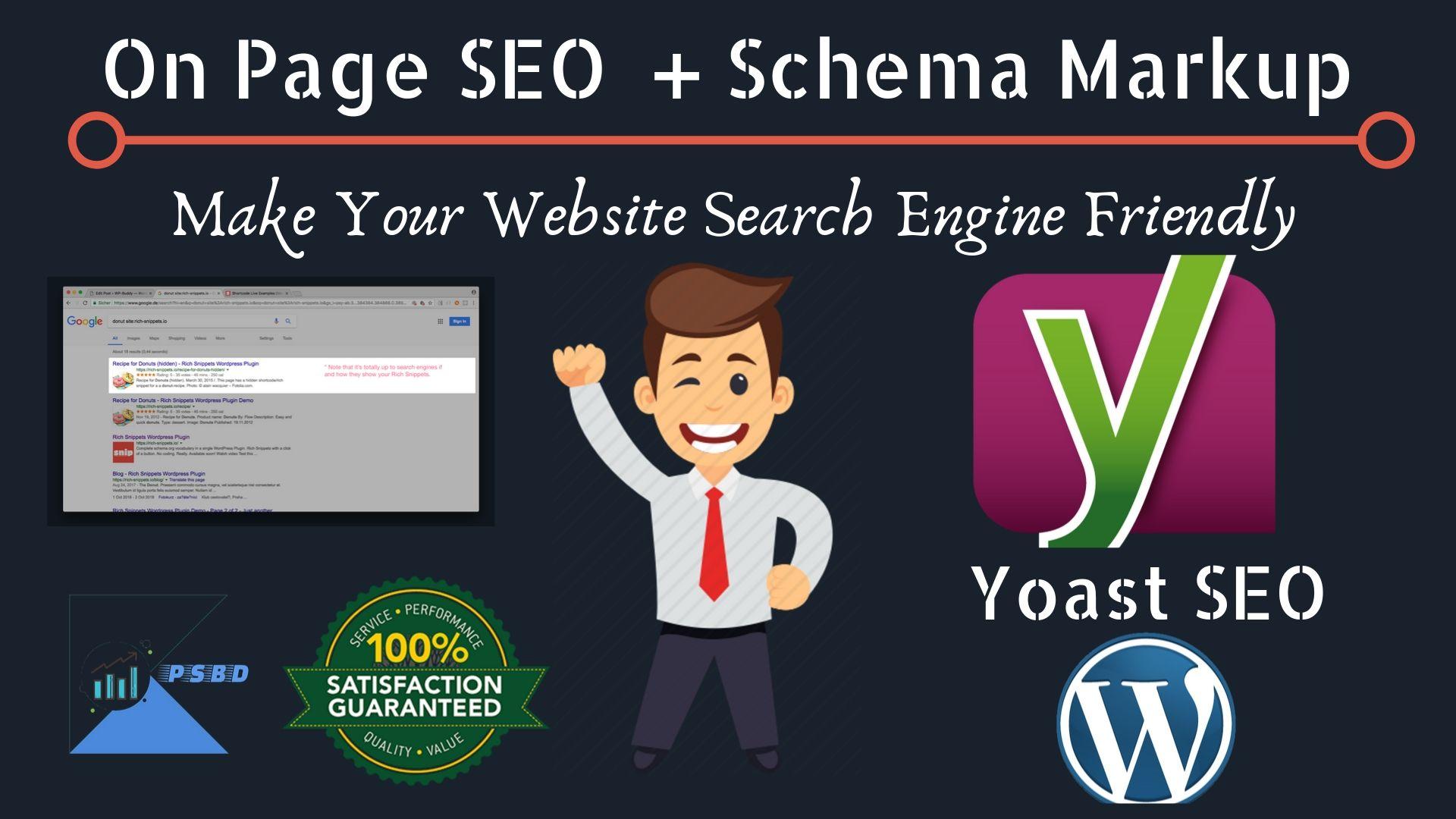 I will do WordPress Yoast SEO On Page with Schema Markup
