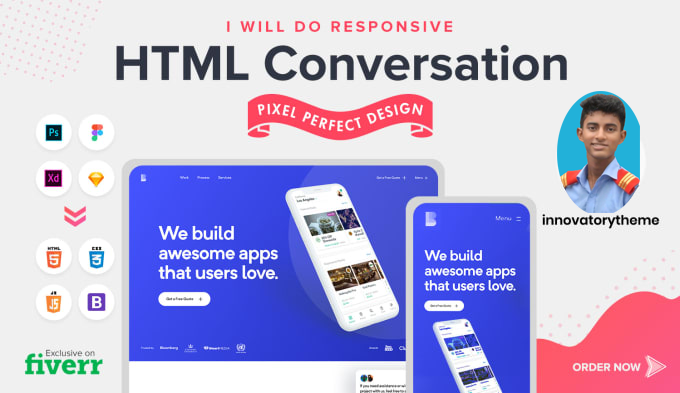 I will convert sketch, psd to html responsive website.