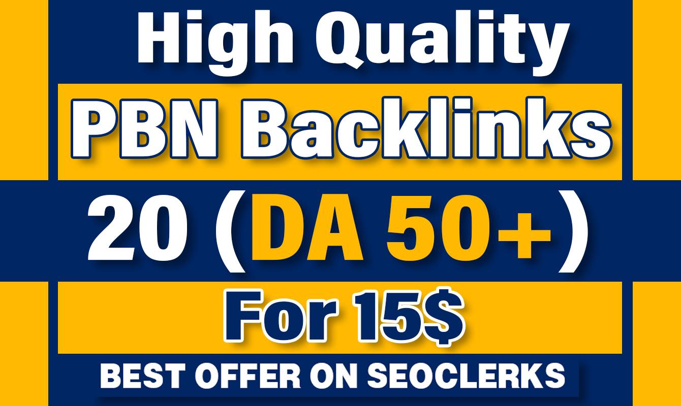 Build DA (50+) PBN Home Page 20 Dofollow Backlinks