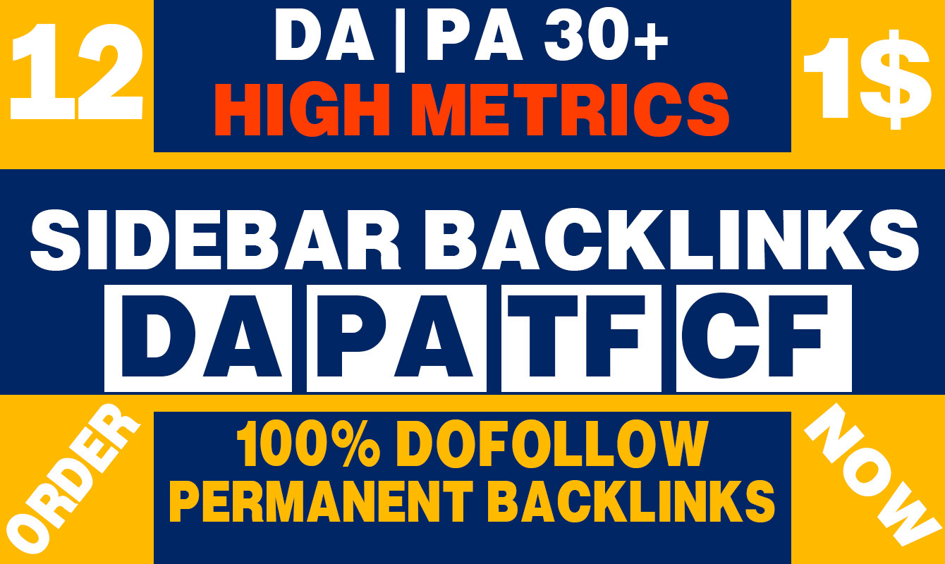 Permanent 12 Sidebar backlink on PBN Home Page High DA PA 30+ Dofollow