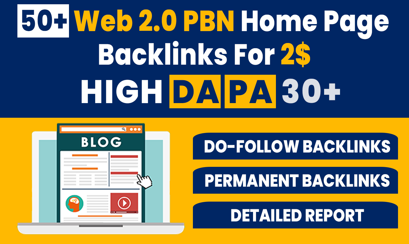 50+ High DA PA Permanent Web 2.0 PBN Home Page Back-links