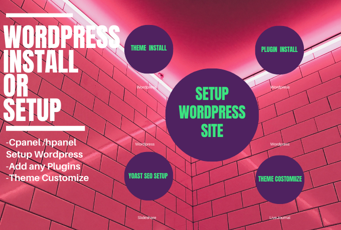 setup wordpress,  install theme,  do customize