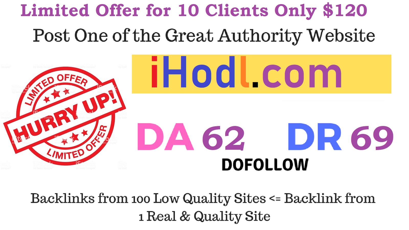 Publish Crypto Guest Post on iHodl,  iHodl. com DA 62,  PA 55