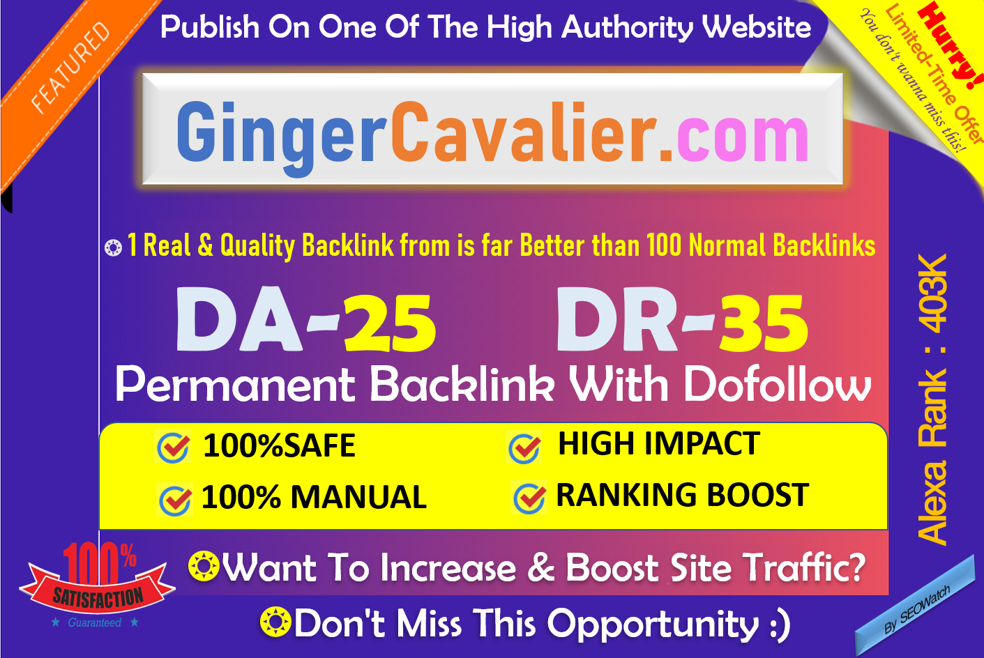 Write and Publish Pet Blog on Gingercavalier. com with Dofollow Backlink