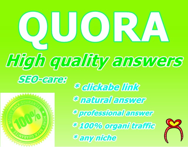 I will provide 20 High quality quora answars with target traffic