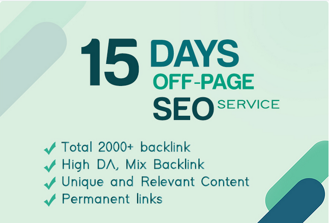 Off Page SEO with backlinks strategy for 15 days