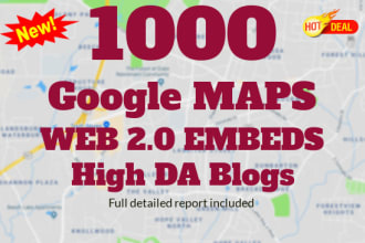 I will embed your google map in 3000 web20 high da blogs best for local SEO