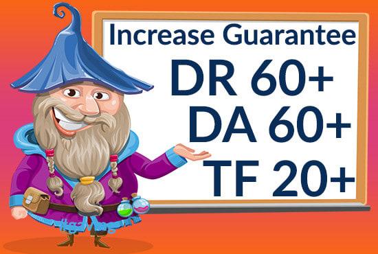 I will increase authority dr 60+ moz da 60+ tf 20+ Guarantee