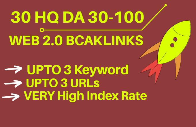 30 Top Quality web 2.0 backlinks DA 30-100   Shared Account