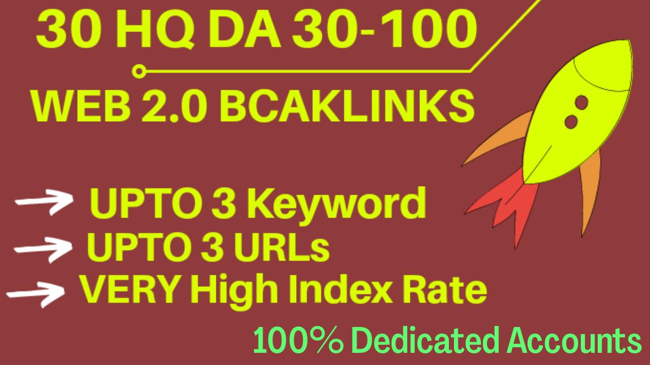 30 Web 2.0 DA 30-100 Backlinks (Dedicated accounts)