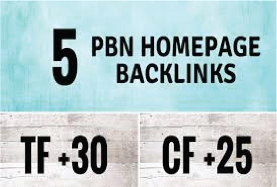 I will do permanent 10 homepage pbn backlinks tf cf 30