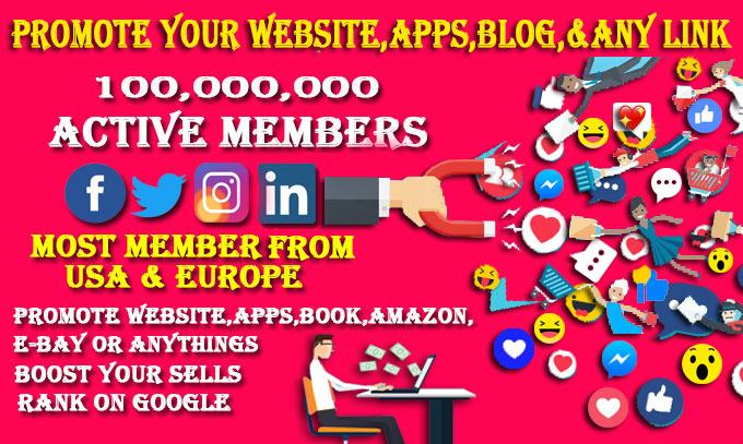 I will promote and market your website,  business,  app or any link on social media