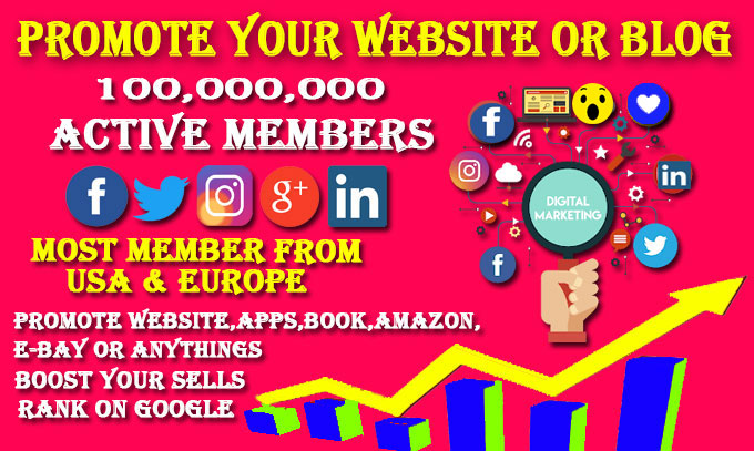 I will promote your website on social media and ensure quality traffic