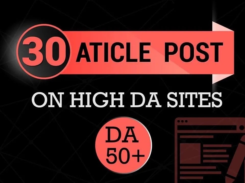 I will provide 30 article submission unique domain backlinks