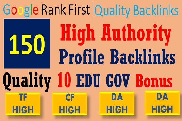 I will create 150 High power profile backlinks with 10 quality edu and gov bonus backlinks