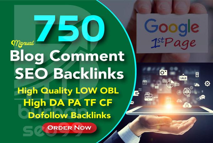 I will 750 powerfull dofollow blog comments seo link building backlinks google ranking