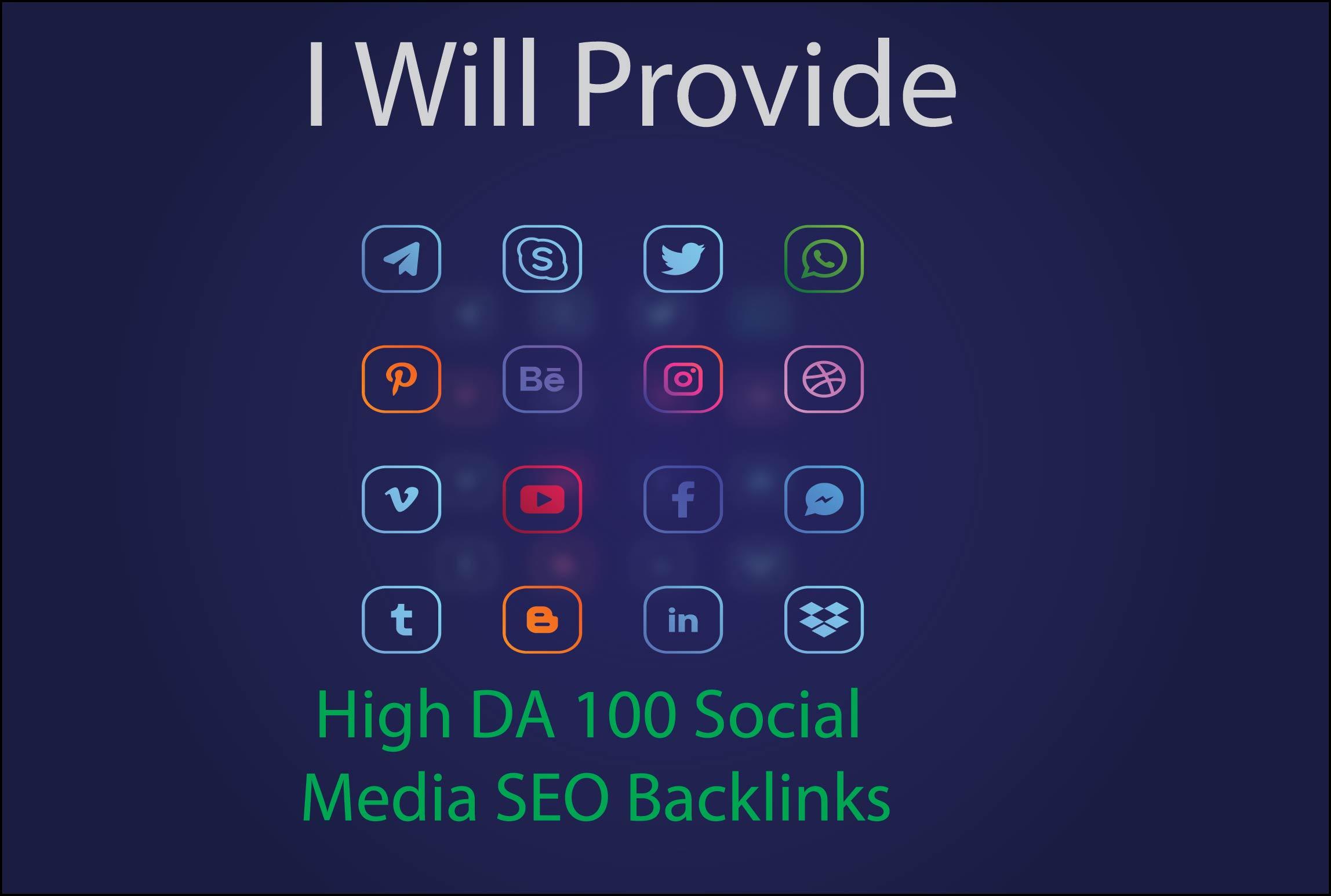 manually create high da social media backinks for SEO manually create high da social media backink