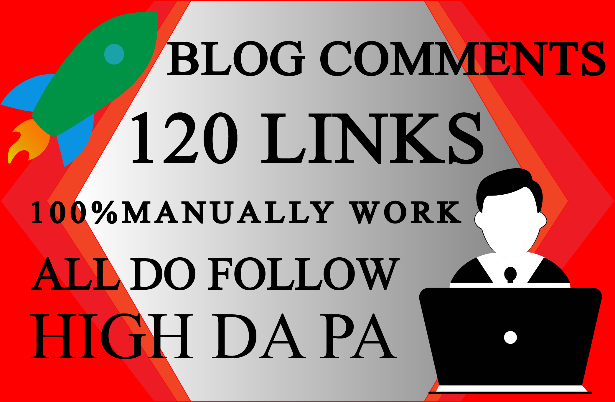 I will do 120 dofollow unique domain blog comment backlinks in DA 25+