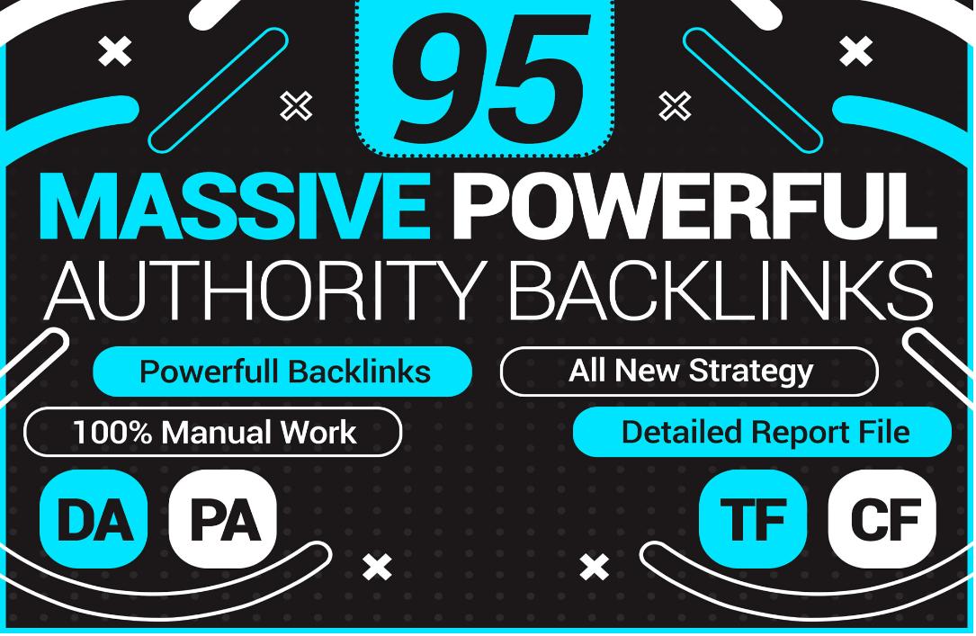 I will create 95 unique domain SEO backlinks on DA PA TF CF websites
