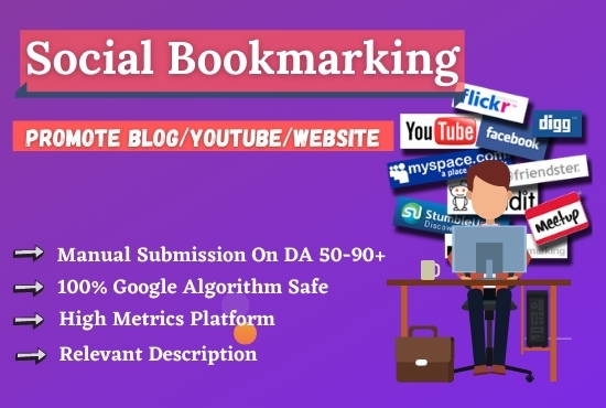 Promote Your URL Into 65 Social Bookmarking Sites Manually and Naturally For Increase Website Rank