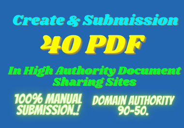I will create and publish 40 PDF in high DA PA websites