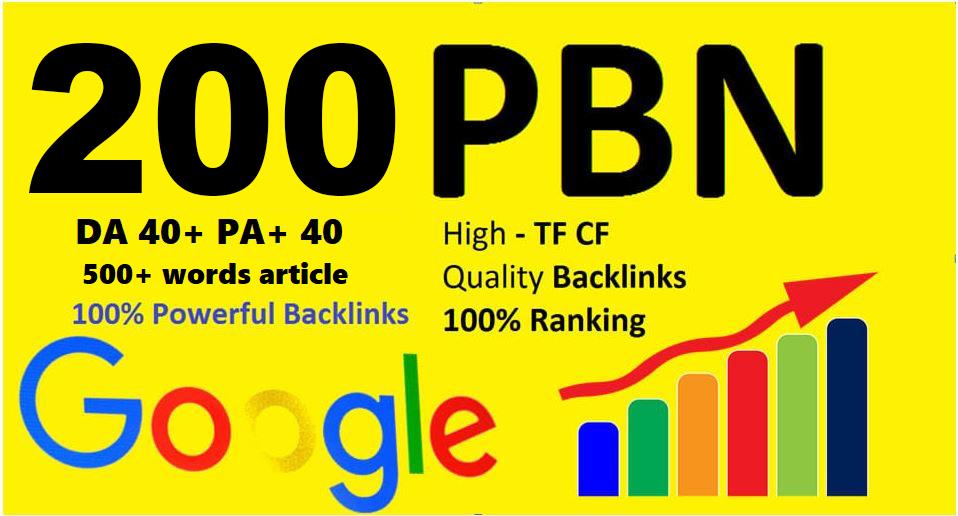 Unique 200 Sites Da 40 Pa 35 PR 5 Web 2.0 Pbn