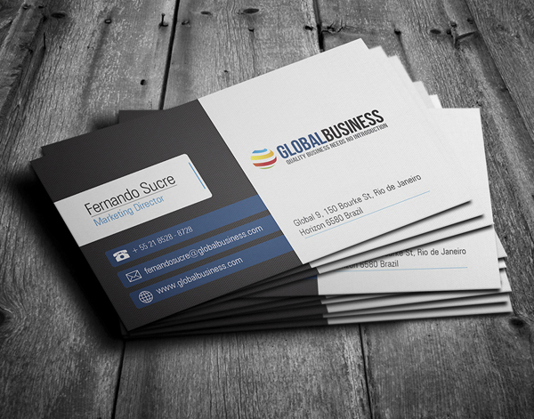 Design Professional Double Sided Business Cards with PSD Source in 24 Hours