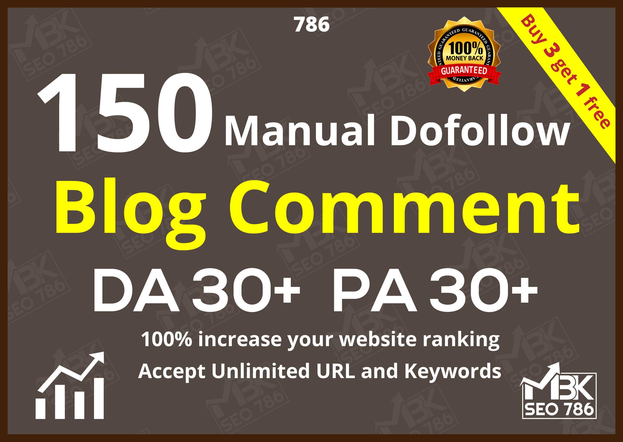 150 Manual Dofollow Blog comment DA30+ PA30+
