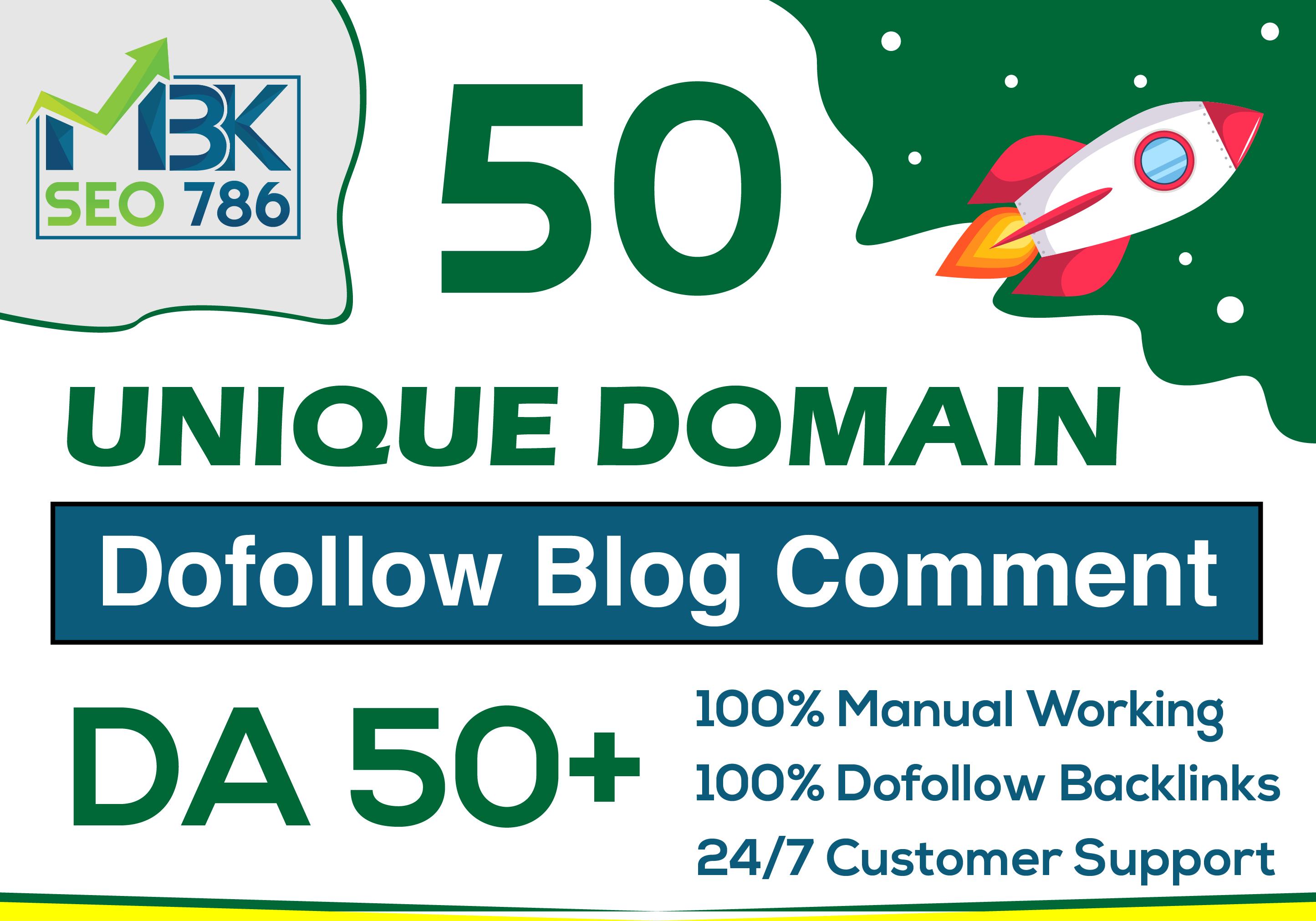 50 Unique Domain Dofollow Blog Comments with DA 50 plus