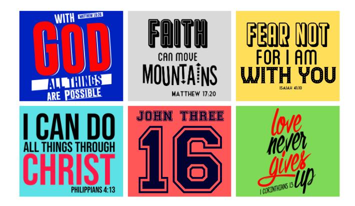 I will provide 8 bible verse t-shirt designs