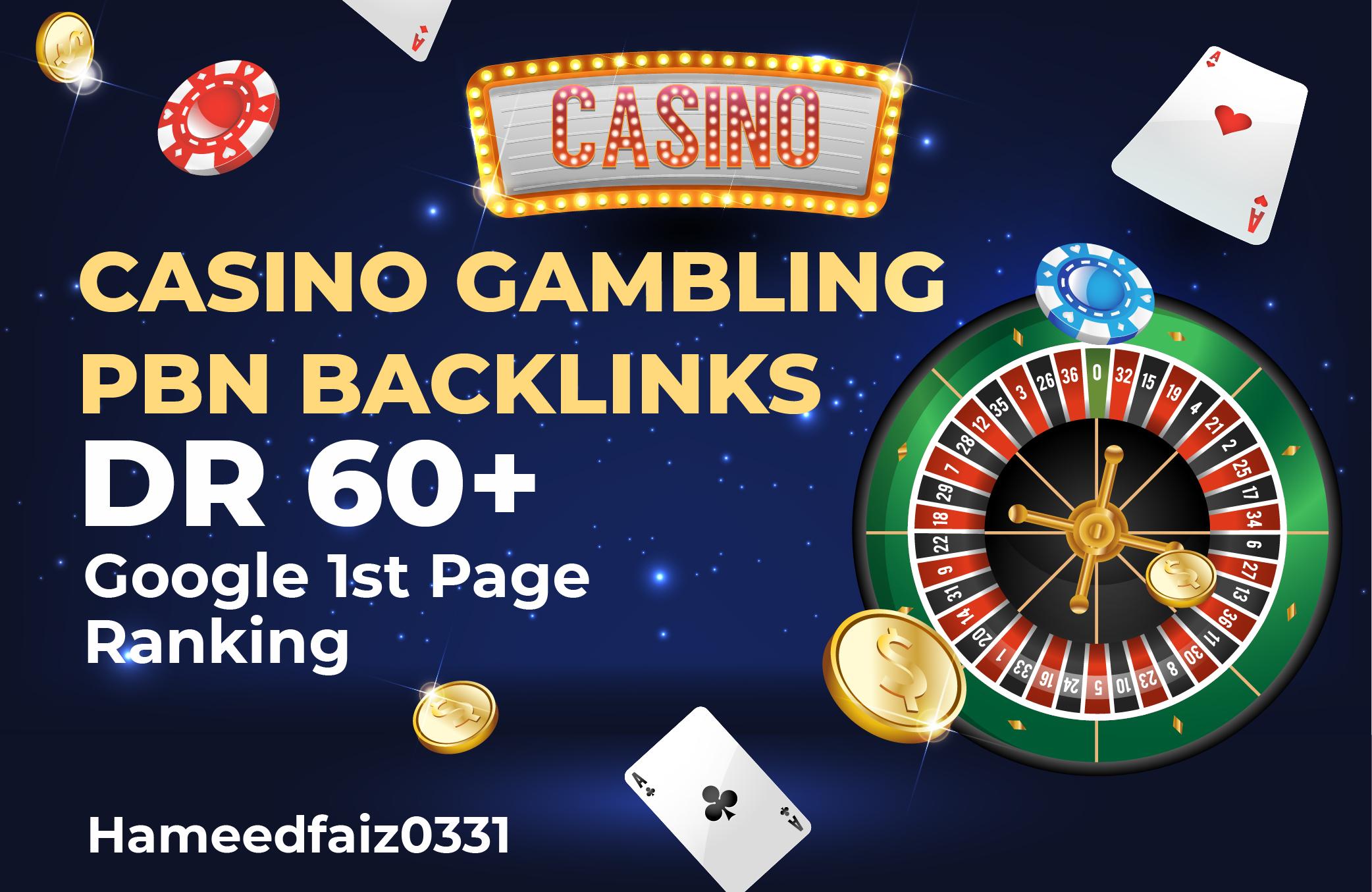 Do 20 PBN DR 60+ Casino/Poker/Gambling Dofollow Homepage Backlinks