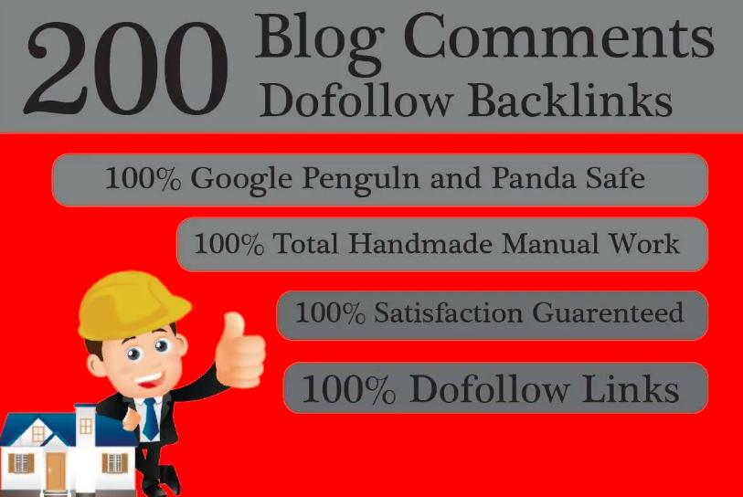 200 High DA PA Dofollow Blog comment Backlinks