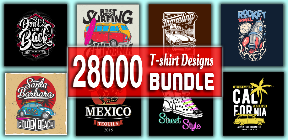 28000 Editable & Printable T-shirt Designs Bundle with various Niches