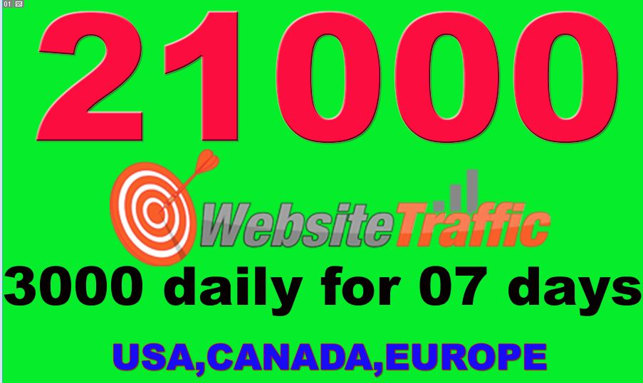 I will drive 21000 real visitors from USA, CANADA, EUROPE