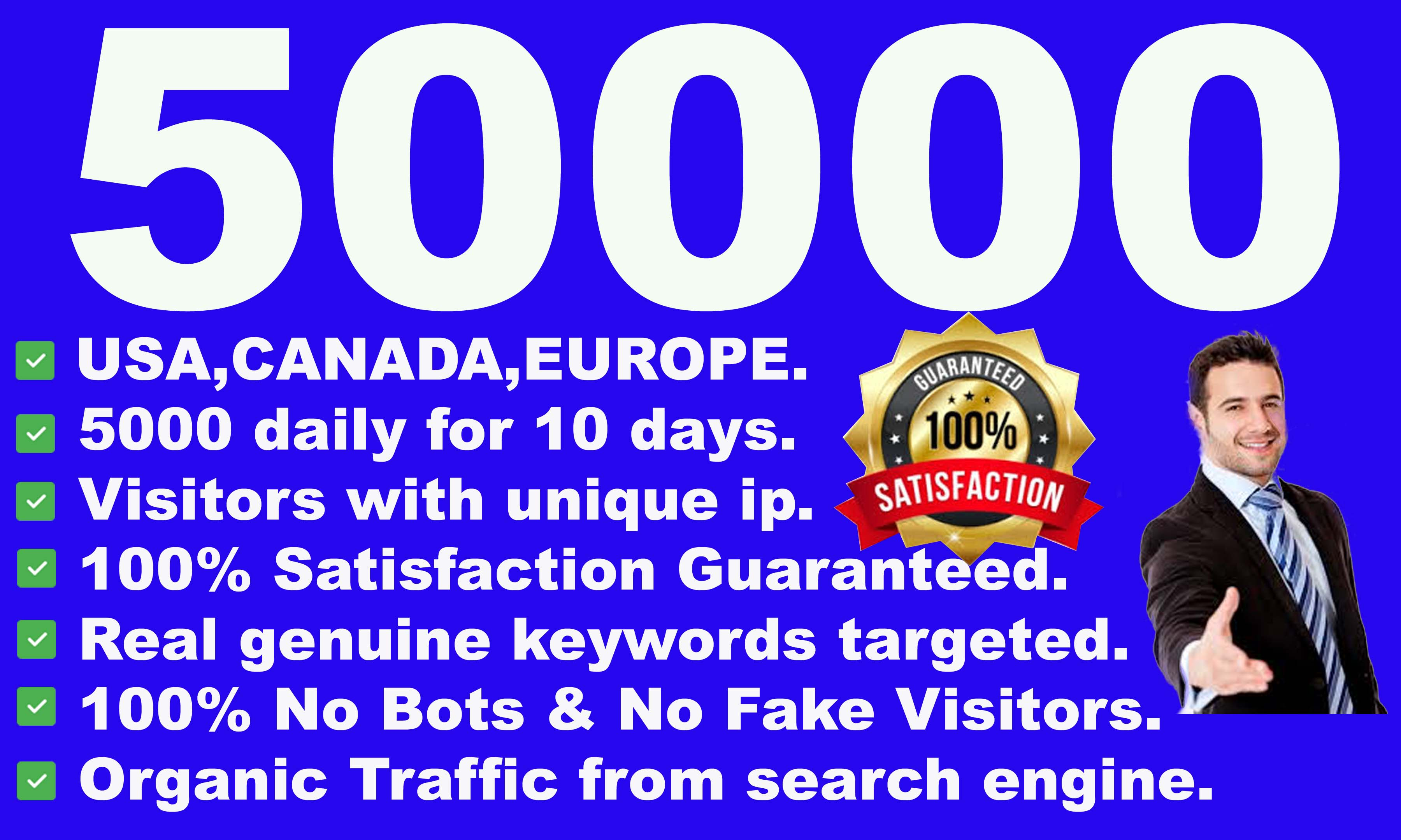 I will drive 50000 real visitors from USA, CANADA, EUROPE