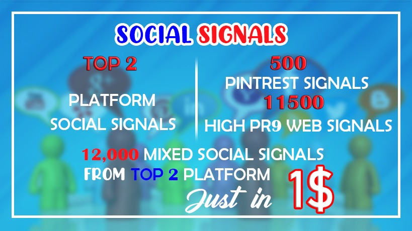 12,000+ Top 2 Platform Web shares + Pinterest social signals