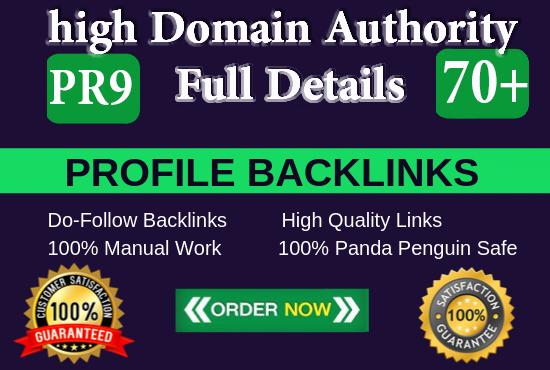 Provide 30 Do Follow PR9 Profile Backlinks from High DA Websites