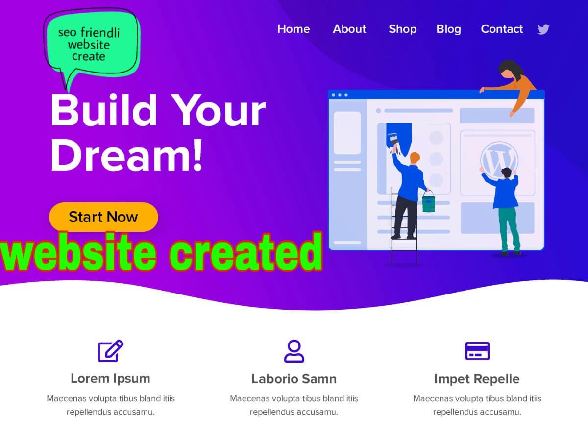 I will create a custom word press website design,  web development+seo