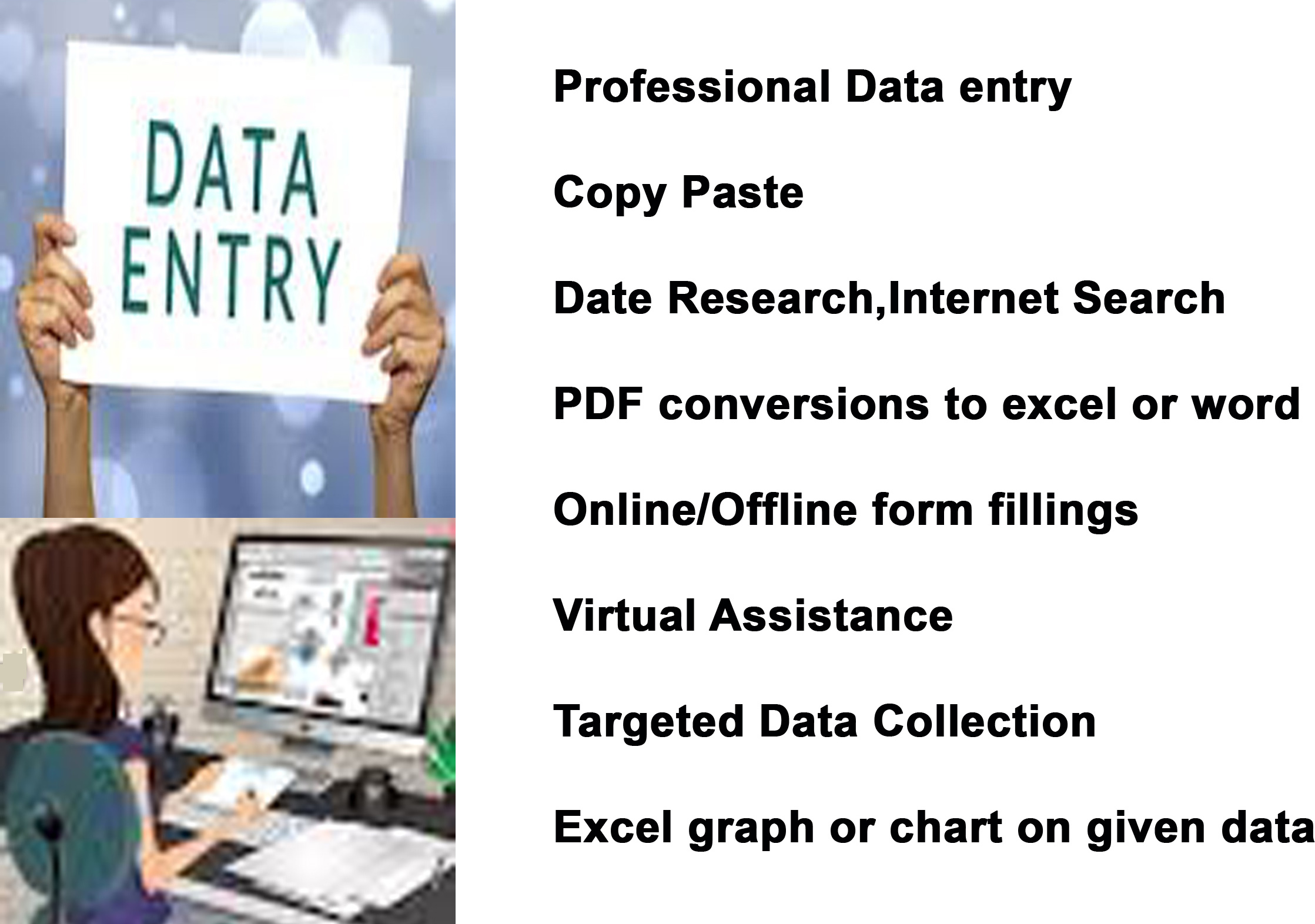 Data Entry, Copy Paste and Virtual Assistant and Web Research