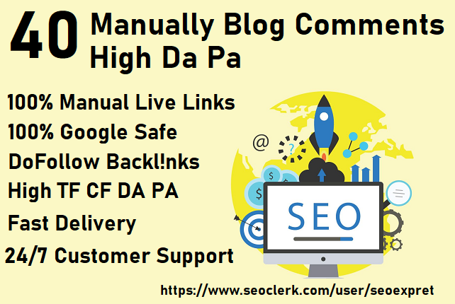 I will create 40 unique domains dofollow blog comments backlinks on DA 30 to 80+ sites