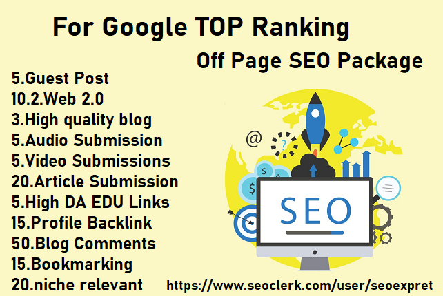 I will provide off page seo package for google top ranking