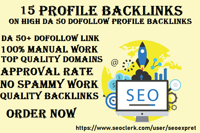 I Will Do 15 Unique Profile Backlinks Manual SEO Service