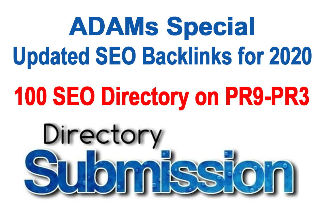 100 Seo Friendly Directory Submission Backlinks on PR9-PR3