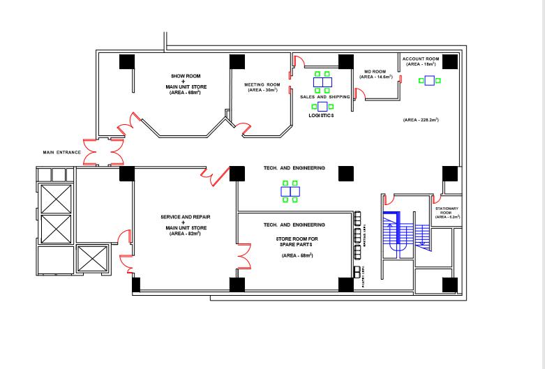 I will design your 2d office floor plan