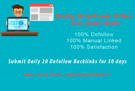 I will submit daily drip feed service of 20 dofollow backlinks for 30 days