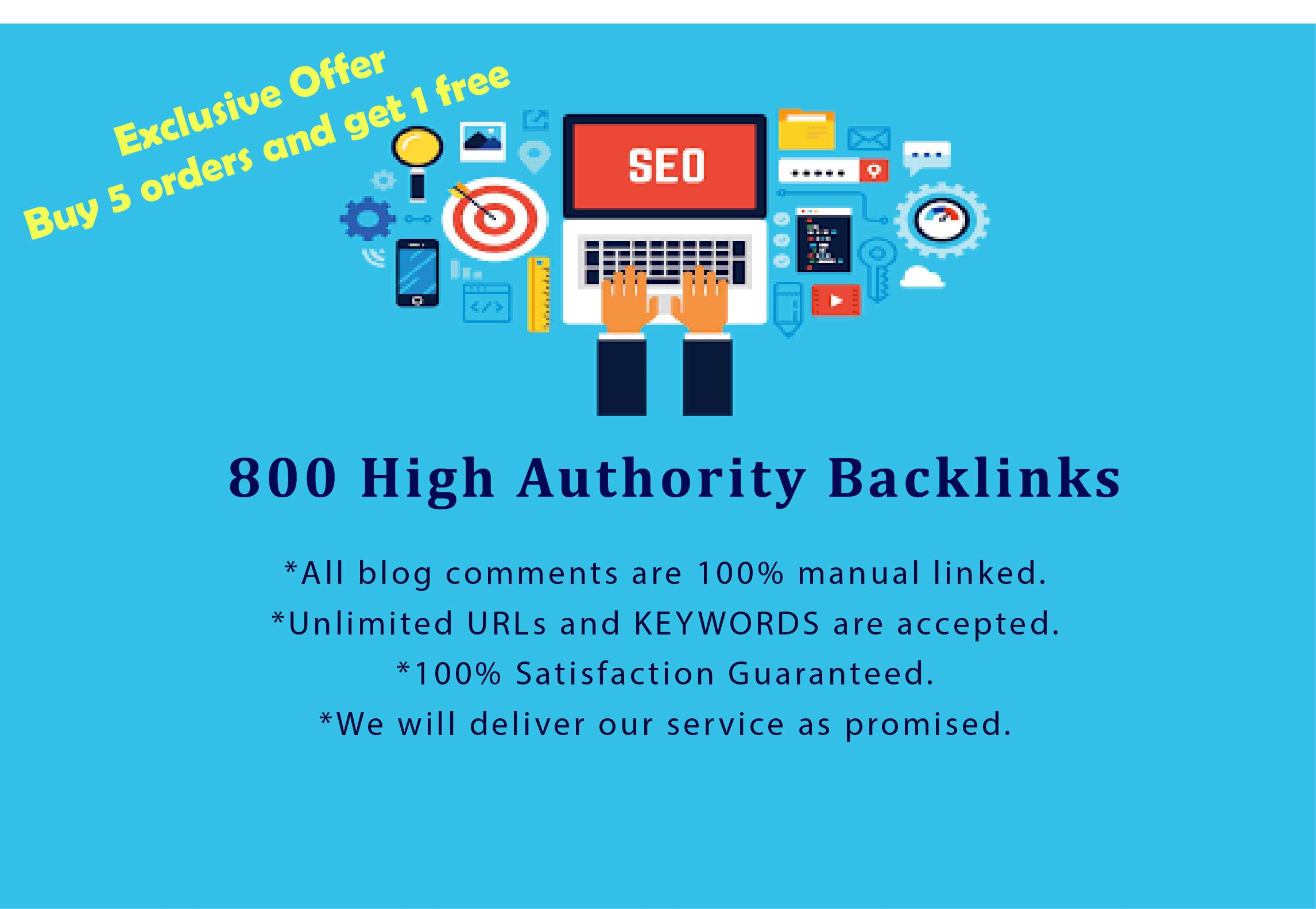 I will create highly DA 800 manually blog comments backlinks