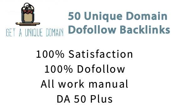 I will do 50 unique domain dofollow backlinks on DA 30 plus sites