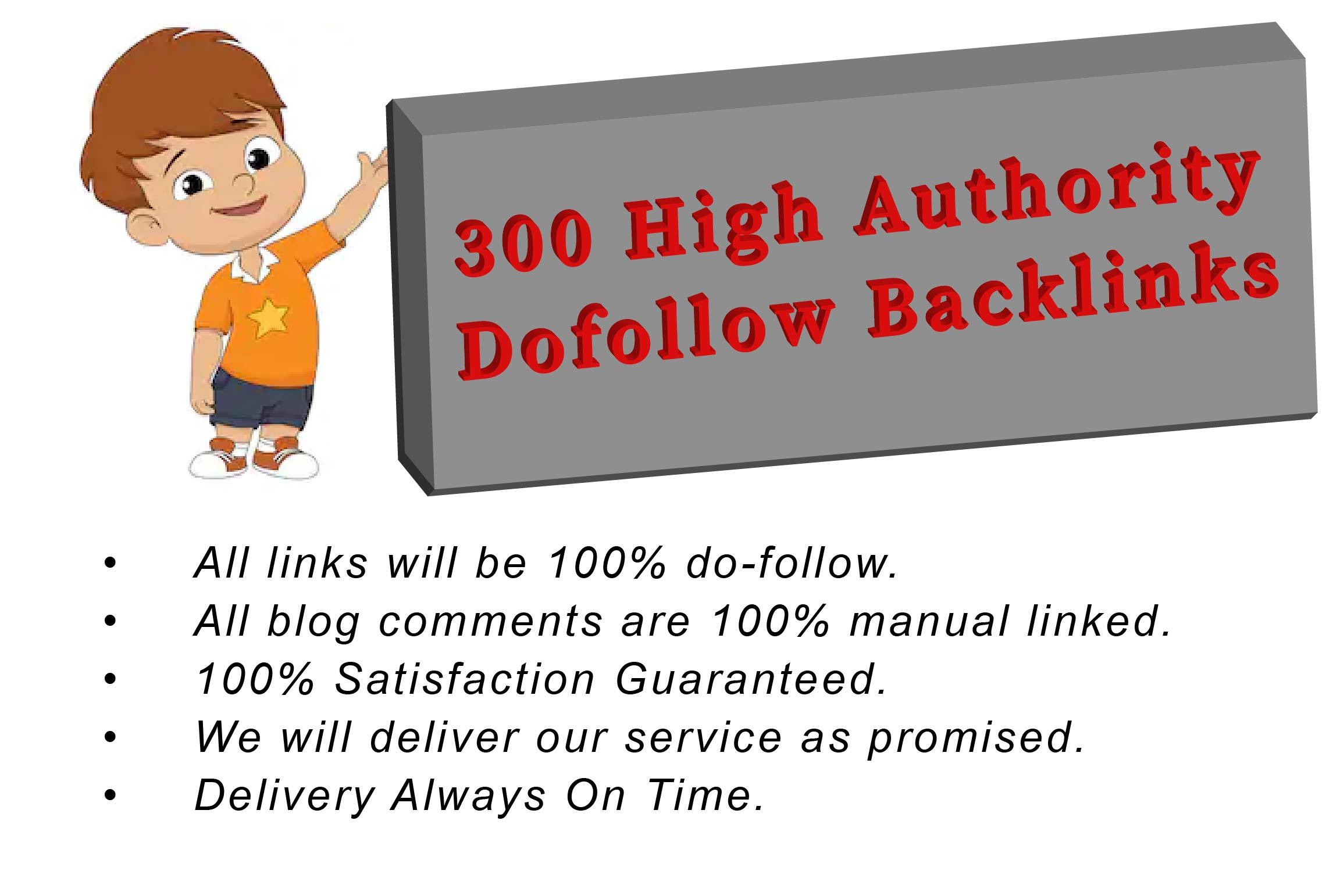I will do 300 high quality backlinks on da 20 plus sites