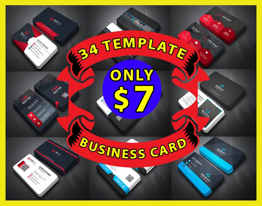 34 professional business card template bundle