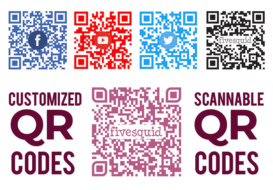 create 2 custom scannable print ready qr codes with your logo